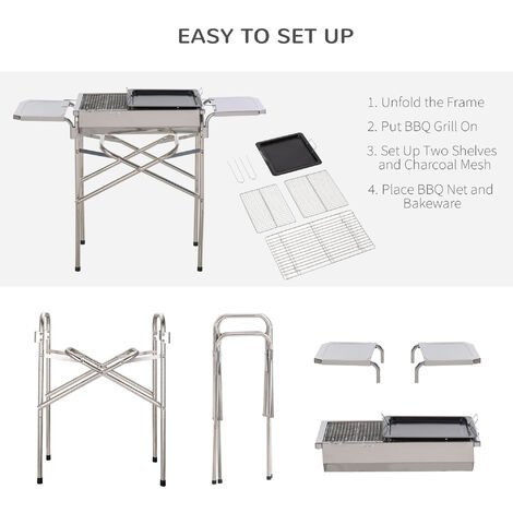 Outsunny Stainless Steel BBQ Grill w/ Removable Base Side ...