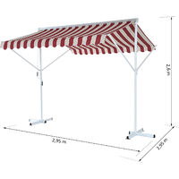 Outsunny® Standmarkise Doppelmarkise 2,95m x 2,95m x 2,6m Weinrot
