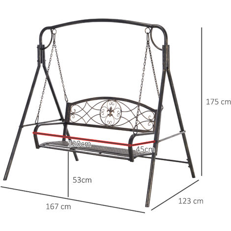 Outsunny Steel 2-Seater Garden Swing Bench Elegant Scrolling Outdoor Seat Bronze Tone