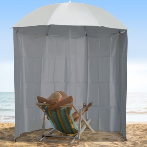 Outsunny Steel Beach Parasol Sun Shelter Side Canopy Carry Bag 7ft - Cream White