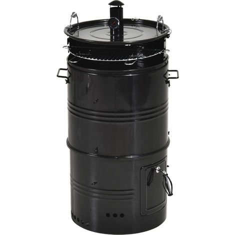 Outsunny Steel Enamel Charcoal Smoker w/ Removable Grill Cover Outdoor Black