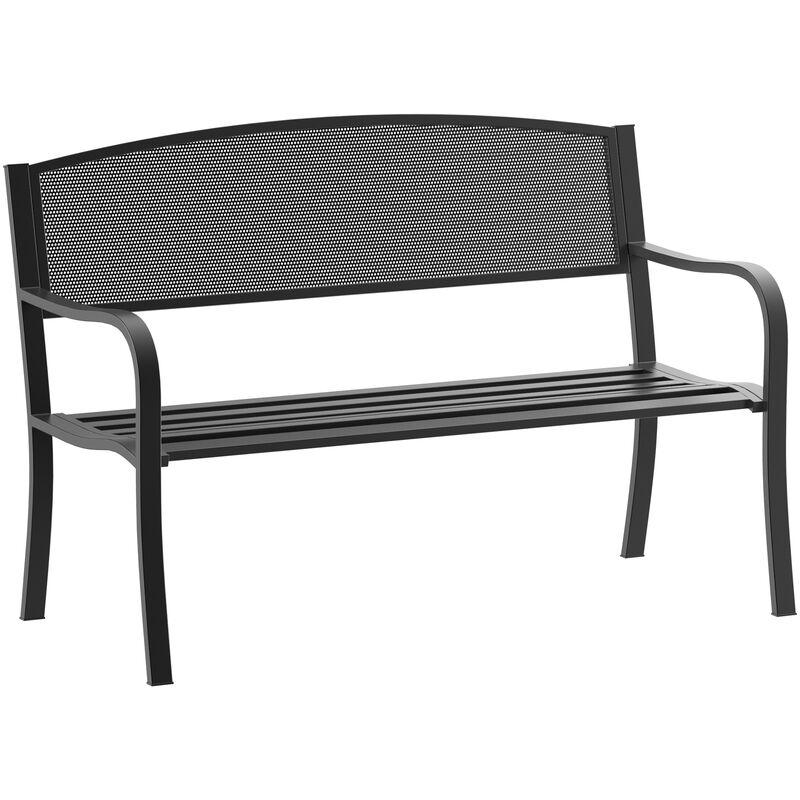 "50/"" Outdoor Patio Park Garden Bench Porch Chair Steel Frame Cast Iron Backrest"