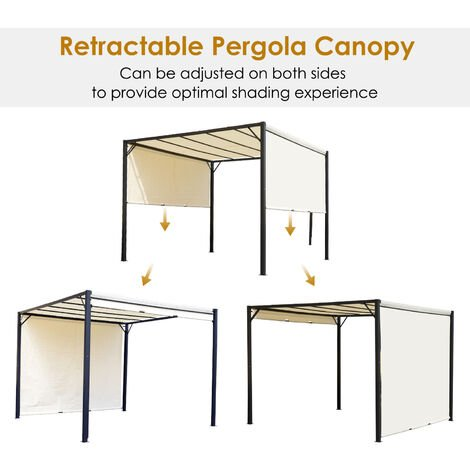 Outsunny Steel Outdoor Gazebo Adjustable Canopy Square Cover Garden Sun Shelter 3 x 3m