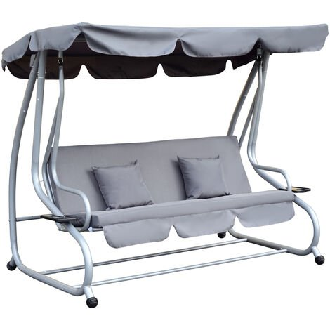 Outsunny Steel Patio Swing Chair Garden Hammock 2 Pillow Outdoor 3 Seater Grey