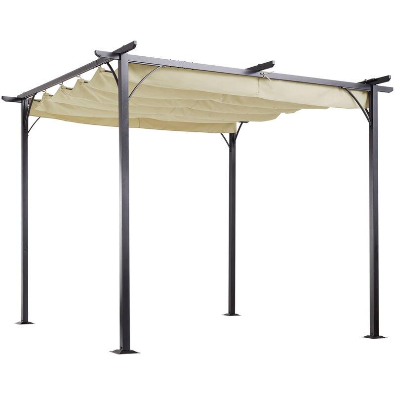 Outsunny Steel Pergola Gazebo Garden Awning Retractable ...