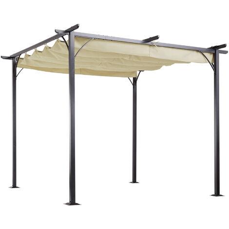 Outsunny Steel Pergola Gazebo Garden Awning Retractable Canopy Outdoor Shade