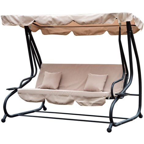 Outsunny Steel Swing Chair Garden Hammock Convertible Canopy Bed 3 Seater - Beige