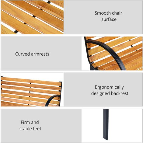 Outsunny Steel Wood Garden Bench Park Chair Outdoor Patio Porch Furniture