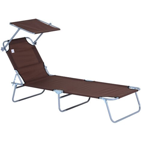 Outsunny Sun Bed Chairs Garden Lounger Recliner Folding Relaxer Beach Chair Patio Camping New Coffee