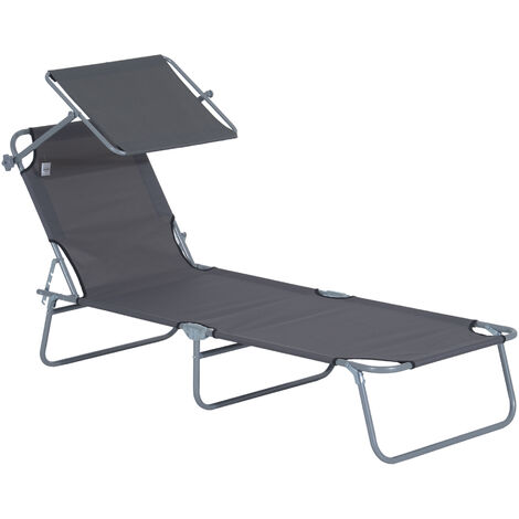 Outsunny Sun Bed Chairs Garden Lounger Recliner Reclining Folding Relaxer Beach Chair Patio Camping Grey