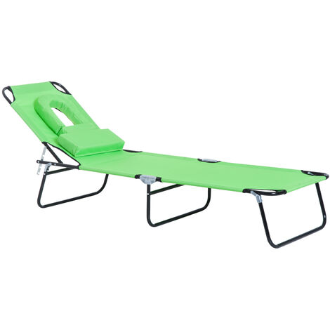 Outsunny Sun Lounger Foldable Reclining Chair with Pillow Garden Beach - Green