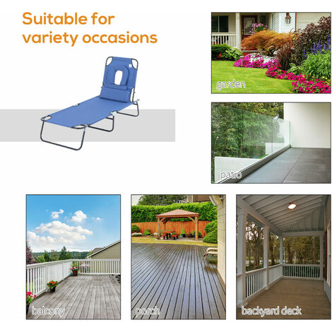 Outsunny Sun Lounger Foldable Reclining Chair with Pillow Garden Beach