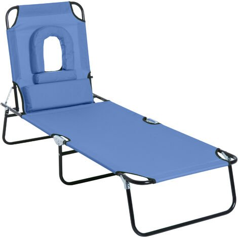 """main image of """"Outsunny Sun Lounger Foldable Reclining Chair with Pillow Garden Beach"""""""