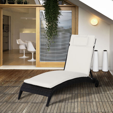 Outsunny Sun Lounger Padded Chair Cushion Side Ties Outdoor Garden Patio