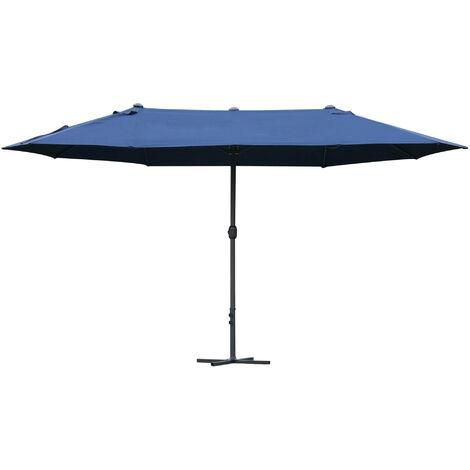Outsunny Sun Umbrella Canopy Double-side Crank Sun Shade Shelter 4.6M Blue