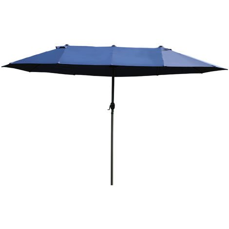 Outsunny Sun Umbrella Canopy Double Sided Garden Patio Shade Brown 4.6M