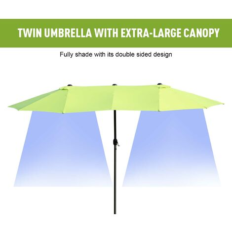 Outsunny Sun Umbrella Canopy Double Sided Garden Patio Shade Brown 4.6M