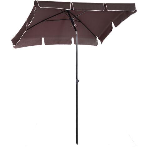 Outsunny Sun Umbrella Parasol Patio Rectangular Tilt - 2 x 1.25m - Brown