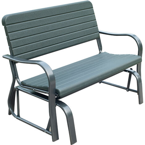 Outsunny Swaying Garden Bench 2-Seater Metal Frame Curved Arms Outdoor Seating