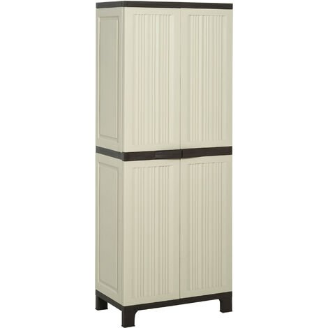Outsunny Tall Plastic Utility Cabinet Tool Shed Double Door Storage Adjule Shelves Grey