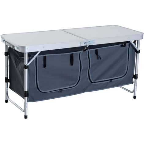 Tavolo Da Campeggio Alluminio.Outsunny Tavolino Da Campeggio Pieghevole Con Ripiano Portavivande