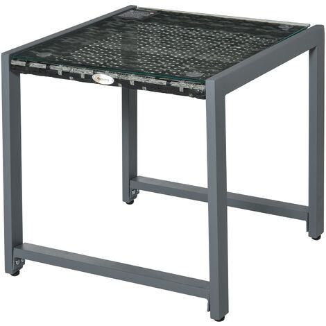 Arredamento da Esterno in Metallo e Vetro 120x80x70cm Grigio Outsunny Tavolo da Giardino con Foro per Ombrellone