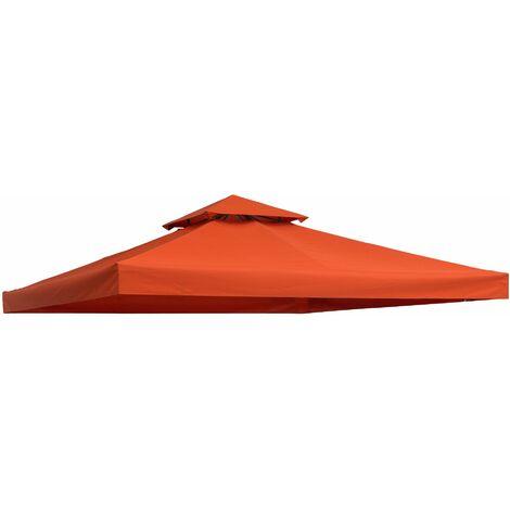 Outsunny Techo de Reemplazo 3x3m y 3x4m para Estructura de Carpa Pabellon Cenador Terracota - terracota
