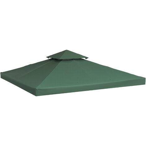 Outsunny Techo de Reemplazo 3x3m y 3x4m para Estructura de Carpa Pabellon Cenador Verde - verde esmeralda