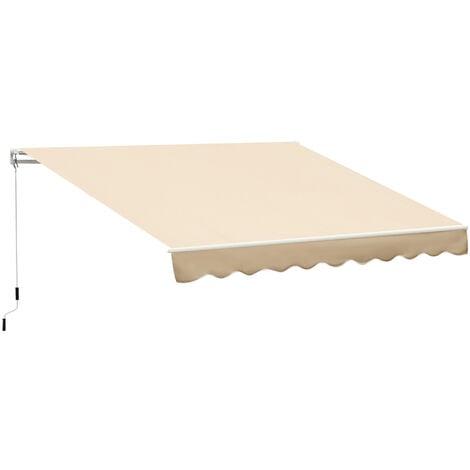 Outsunny Tenda da Sole a Braccio Avvolgibile Manuale in Poliestere Impermeabile, Beige, 4x2.5m