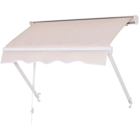 Outsunny Tenda da Sole Avvolgibile a Caduta per Esterno in Alluminio, Beige 120x70cm