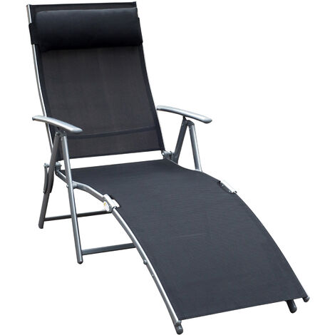 Outsunny Textilene Sun Lounger Recliner Chair Patio Foldable Garden 5 Levels