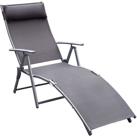 Outsunny Textilene Sun Lounger Recliner Chair Patio Foldable Garden 5 Levels