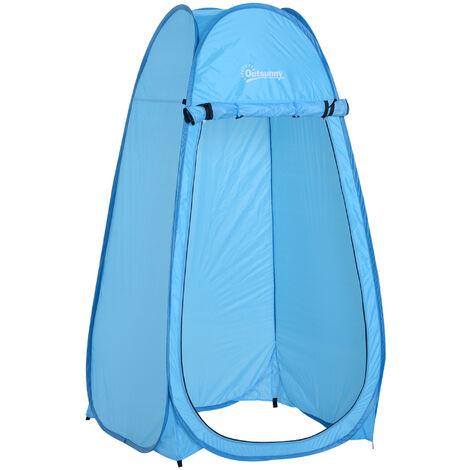 Outsunny Tienda de Campaña Instantánea Carpa Ducha WC Cambiador Portátil 100x100x185 cm Azul - Azul