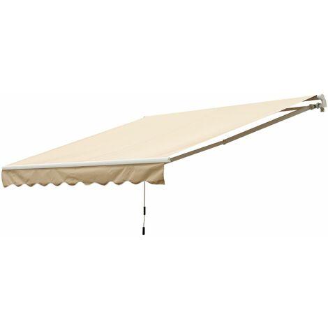 Outsunny Toldo Balcón Terraza Patio Toldo Manual Plegable de Aluminio Manivela 295x245 cm - Crema