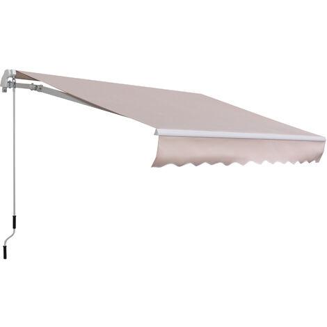 Outsunny Toldo con Brazo Plegable 3x2m Ángulo Ajustable Aluminio Puerta Ventana Beige - Beige