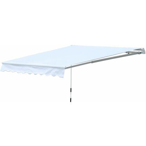 Outsunny Toldo Enrollable con Manivela Manual para Pared 300x250cm Blanco