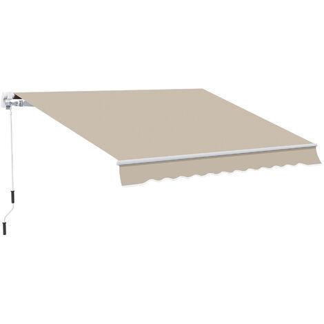 Outsunny Toldo Manual Plegable de Aluminio con Manivela para Terraza Patio Balcón 4x2.5m - Beige oscuro