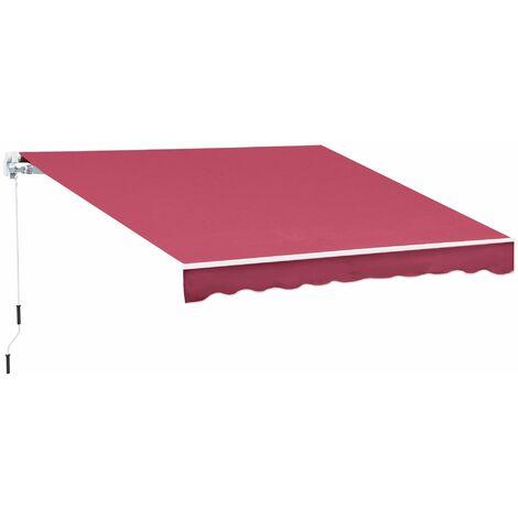 Outsunny Toldo Manual Plegable de Aluminio con Manivela para Terraza Patio Balcón 4x2.5m - Rojo