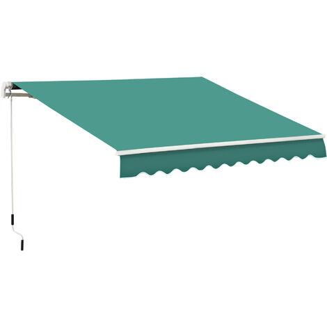 Outsunny Toldo Manual Plegable de Aluminio con Manivela para Terraza Patio Balcón 4x2.5m - Verde Oscuro