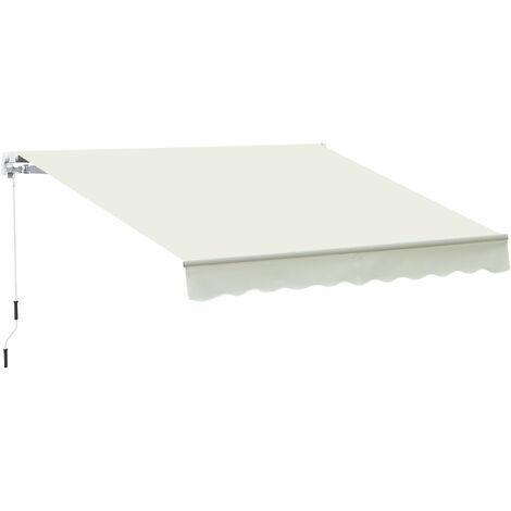 Outsunny Toldo Manual Plegable de Aluminio con Manivela Terraza Balcón 395x245 cm Blanco - Blanco