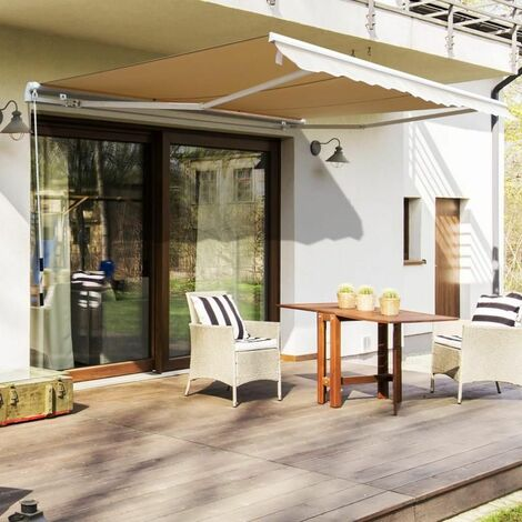 Outsunny Toldo Manual Plegable de Aluminio para Exterior con Ángulo Ajustable y Manivela para Patio Balcón Jardín Terraza - 2.95x2.5m