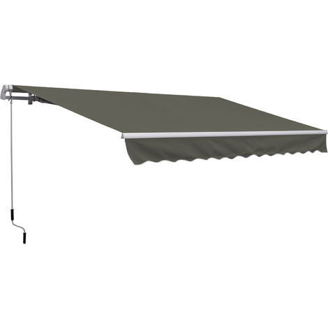 Outsunny Toldo Manual Plegable de Aluminio Toldo Balcón Patio Terraza Manivela 3.5x2.5m
