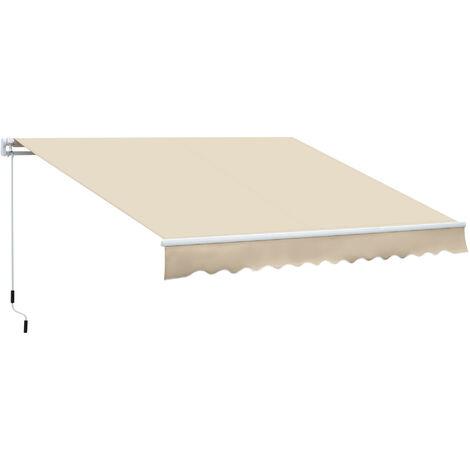 Outsunny Toldo Manual Plegable de Aluminio Toldo Balcón Patio Terraza Manivela 3.5x2.5m - Crema