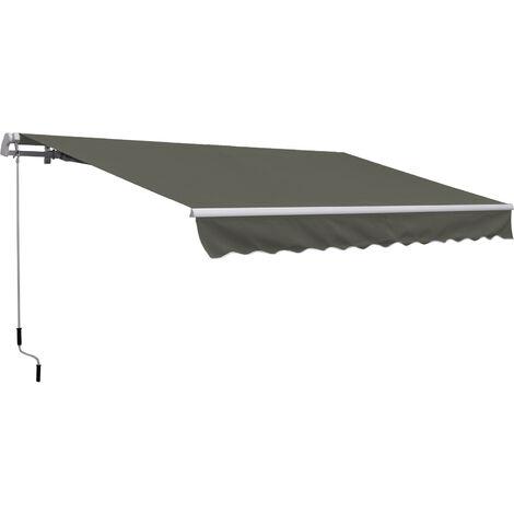 Outsunny Toldo Manual Plegable de Aluminio Toldo Balcón Patio Terraza Manivela 3.5x2.5m - Gris