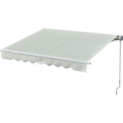 Outsunny Toldo Manual Retráctil con Manivela 250x200 cm Aluminio Ajustable Exterior Crema - Crema