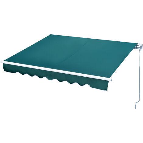 Outsunny Toldo Manual Retráctil con Manivela 250x200 cm Aluminio Ajustable Exterior Verde - Verde