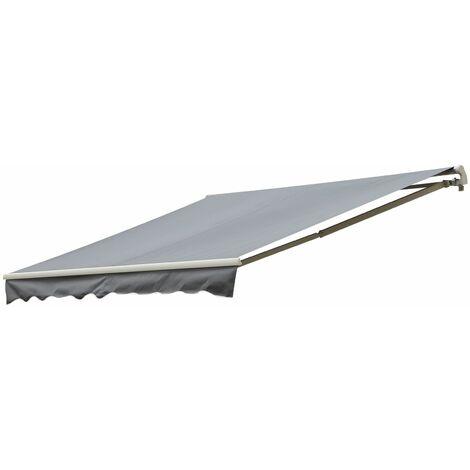 Outsunny Toldo Terraza Patio Balcón Toldo Manual Plegable de Aluminio Manivela 295x245 cm - Gris