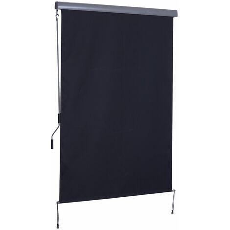 Outsunny Toldo Vertical Enrollable con Manivela Interior Exterior 140x250 cm Gris - gris
