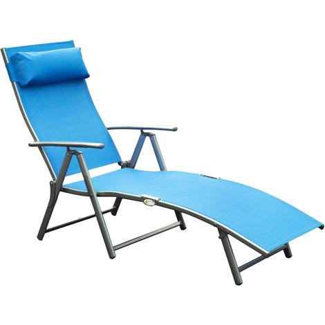 Outsunny transat chaise longue bain de soleil pliable dossier inclinable multi-positions têtière fournie 137L x 64l x 101H cm métal époxy textilène