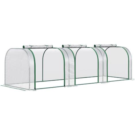 Outsunny Transparent PVC Greenhouse Steel Frame 300L x 100W x 80H (cm)